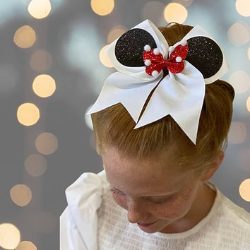 7 Inch Minnie Cheer Bow, Mouse Ear Cheer Bow Pony, Summit Bow
