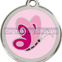Pink Butterfly Enamel and Stainless Steel Personalized Custom Pet Tag with LIFETIME GUARANTEE ID Tag Dog Tags and Cat Tags Free Engraving