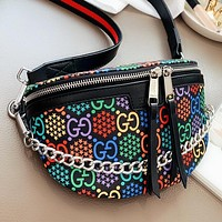GUCCI Fashion New Multicolor More Letter Leather Shoulder Bag Crossbody Bag Black