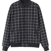 Black Plaid Print Button Up Long Sleeve Bomber Jacket