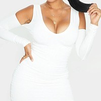 New solid color long sleeve dress women White