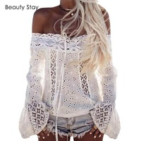 Cover Ups Boho Lace Crochet Top. Embroidered with Woven Lace Trims. Summer Shirt