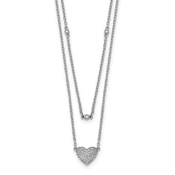 14k White Gold Double Strand Heart 18in Necklace