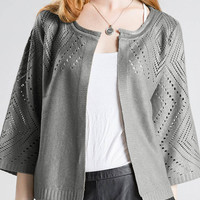 Cut Out Gold Foil Stamping Knitted Cardigan in Grey