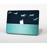 """The Abstract Swirled Two Toned Green with Birds Skin Set for the Apple MacBook Pro 13"""""""