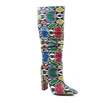 Colorful Snake Skin Boots