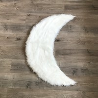 NEW! Machine Washable Faux Sheepskin White Moon Area Rug