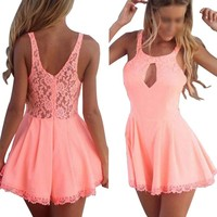 Women Lace Playsuit Party Evening Dress Jumpsuit Pink Small