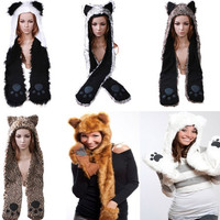 Wolf/Panda/Fox/Bear/Leopard Animal Hood Hoodie Hat Faux Fur 3 in 1 Function