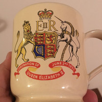 Vintage 1950s Queen Elizabeth II Coronation Stoneware Mug by Denby / Coat of Arms / June 2nd 1953 / British Royal Memorabilia