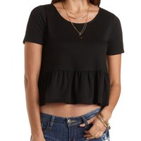 French Terry Ruffle Crop Top by Charlotte Russe