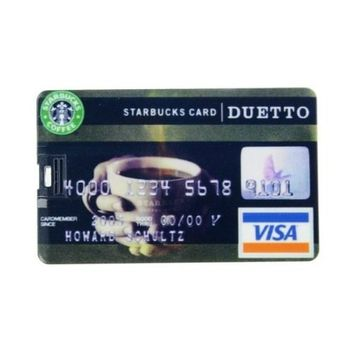 8GB USB Flash Drive Starbucks Pattern Visa Card Size 8G Memory Stick U Disk
