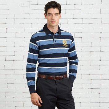 """""""Polo""""Men All-match Stripe Personality Casual Commercial Lapel Solid Color Leisure Long Sleeve Polo Shirt Tops"""
