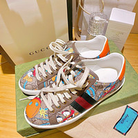 《《 keniii 》》 GG  Men and Women DOUBLE G WHITE GREEN CANVAS SHOES