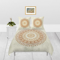 Duvet Cover - 4 different sizes, Without Insert, Bedroom, Home decor, Mandala, Boho, Hippie, With, Without Shams, White, Cream, Beige, Gold