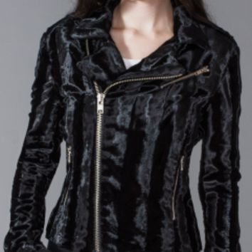 Lip Service Widow Black Faux Fur Moto Jacket Coat