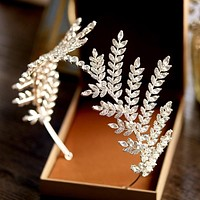 Luxury Clear Crystal Olive Branch Wedding Headband Tiara