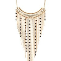 Black Beaded Chain Fringe Necklace by Charlotte Russe