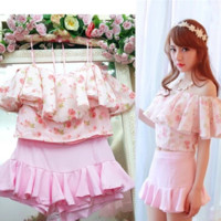 Japanese sweet floral blouse skirt two-piece