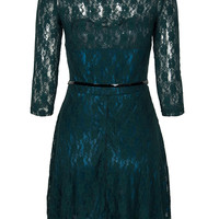 Deep Green Sheer Panel Sweetheart Skater Lace Dress With Belt