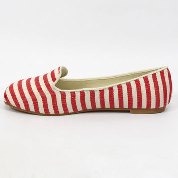 """""""Gabby"""" Striped Tuxedo Loafers - Red/White"""