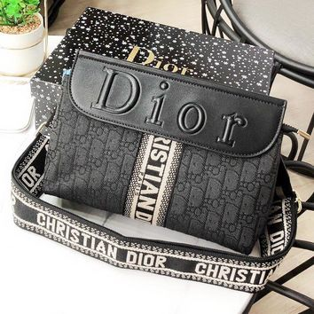 DIOR Fashion New More Letter Leather Shoulder Bag Women Black