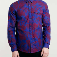 Blue And Red Floral Print Long Sleeve Shirt - Men's Shirts - Clothing