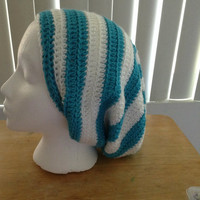 Turquoise and White Slouchy Beanie