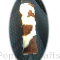 Brown cow print furry faux fur fluffy fuzzy car seatbelt pads covers 1 pair