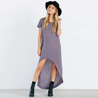Asymmetrical Short Sleeve Maxi Dress