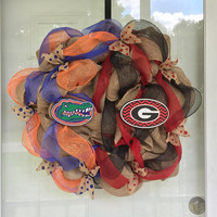 House Divided Wreath, University of Florida  Gators & University of Georgia Bulldogs, Front Door Decoration, Burlap Wreath, Sports Wreath
