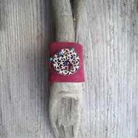 Boho chic burgundy suede cuff bracelet, Boho chic leather bracelet, woman gift