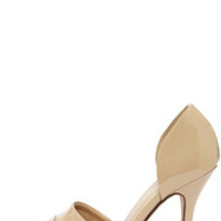 My Delicious Tamika Dark Beige Patent D'Orsay Pumps