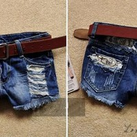 2016 Summer Women Shorts Fashion Street Vintage Ripped Hole Retro Waist Casual Punk Jeans Wash Denim Shorts Ladies Blue SV002587