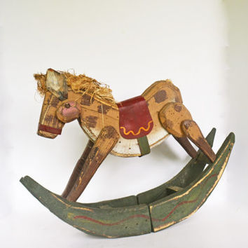 Wooden Rocking Horse, Painted Folk Art Horse, Vintage Wood Horse, Vintage Nursery Decor, Wooden Horse Child's Toy, Vintage Wooden Toy