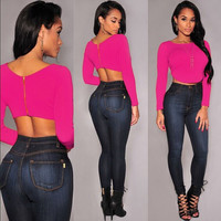 Pink Long Sleeve Cropped Top with Back Zipper