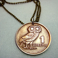 Coin Jewelry  Vintage OWL of Athena COIN by FindsAndFarthings