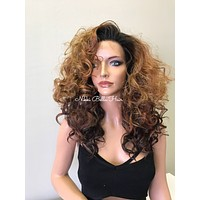 Ombre Medium Brown Wavy Hair Human Hair Blend Invisible Perfect Fit Lace Front Wig - Camille