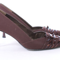 STUART WEITZMAN POINTED TOE BROWN FABRIC AND LEATHER TORTOISE SHELL HEEL SIZE 8.5