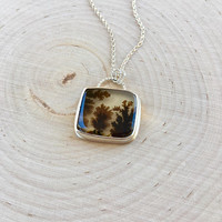 New! Detailed Dendritic Agate Cabochon Pendant in Sterling Silver with Rolo Chain, Fern Agate Necklace, Gemstone Bezel Pendant, Square Stone