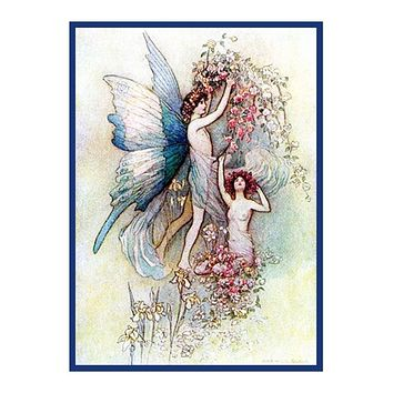 Fairies and Flowers by Warwick Goble 'sCounted Cross Stitch Chart Pattern