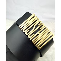 Moschino Tide brand new women's metal letter head smooth buckle belt black