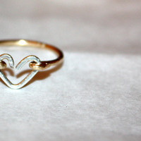 TINY HEART RING / handmade wire-wrapped ring  / ft. sterling silver and 14 karat gold / gifts under 25