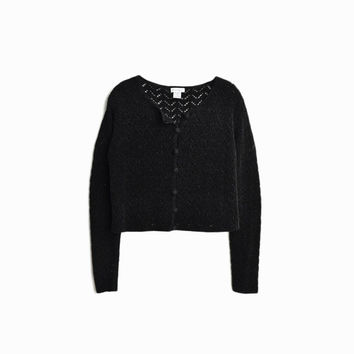 Vintage 90s Black Chenille Cardigan Sweater / Boxy Sweater - women's medium