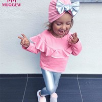 3pcs Toddler Infant Baby Girls Clothes Pink Long Sleeve Blouse Shirt Tops+Silver Bling Pants+Hat Fashion Clothes Outfits Sets