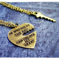 """Tiny Heart Quote """"He Who Holds The Key..."""" Charm Necklace in Antique Brass with TWO Delicate 18 Inch Gold Plated Cable Chains"""