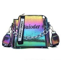 Women Letter Shoulder Bag INS Popular Female Handbag Holiday PU Messenger Bags For Lady Design Exquisite Crossbody Bucket