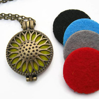 Sunflower Diffuser Necklace, Aromatherapy Necklace, Essential Oil Diffuser Jewelry, Nature Necklace, Choose Length, ANTIQUED BRONZE