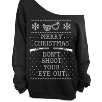 Ugly Christmas Sweater - Black Slouchy Oversized CREW - Don't Shoot your eye out