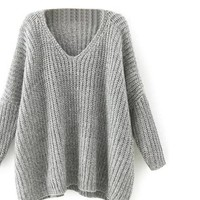 SheIn Women Sweaters For Woman Pullovers Knitted Sweater V Neck Batwing Sleeve Loose Casual Oversized Sweater